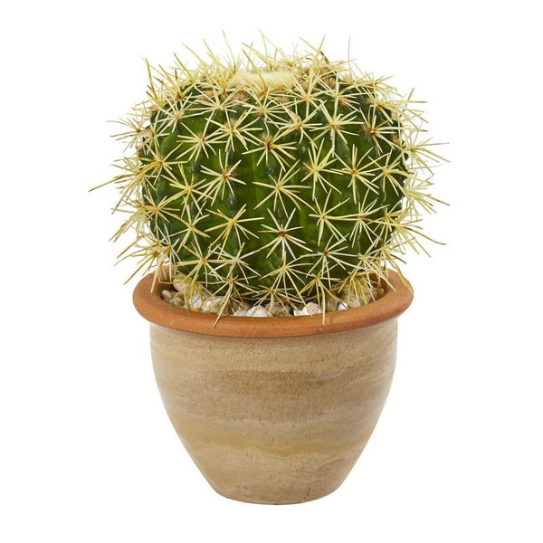 """10"""" Cactus Artificial Plant In Decorative Ceramic Planter 8784 By Nearly Natural"""