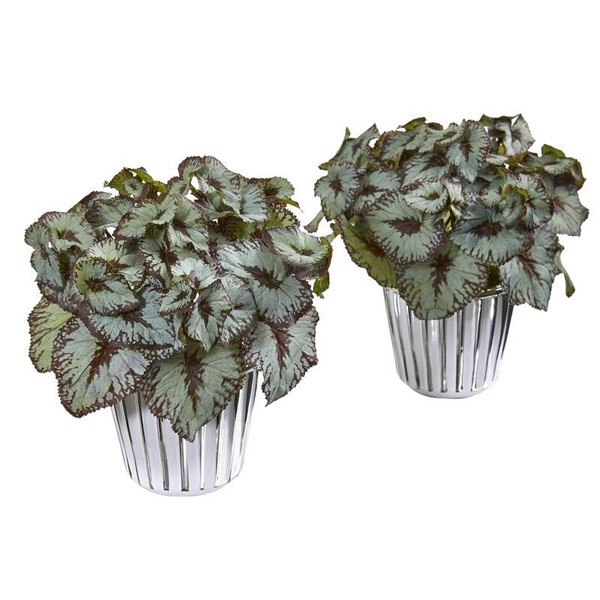 """10"""" Begonia Artificial Plant In White And Silver Trimmed Vase (Set Of 2) 8799-S2 By Nearly Natural"""