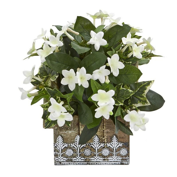 """10"""" Mix Stephanotis And Ivy Artificial Plant In Hanging Floral Design House Planter 8824 By Nearly Natural"""