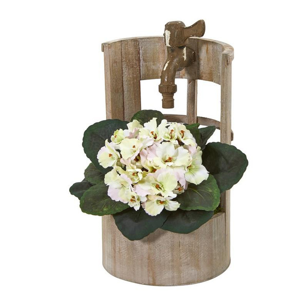 """12"""" African Violet Artificial Plant In Faucet Planter 8828-CP By Nearly Natural"""