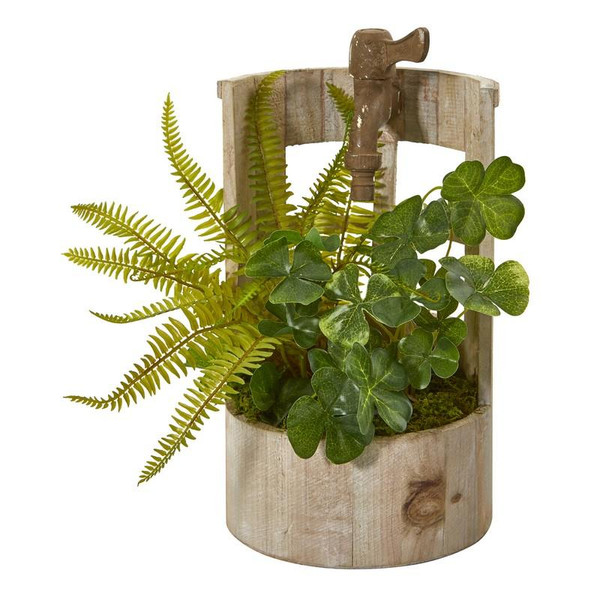"""12"""" Clover And Fern Artificial Plant In Faucet Planter 8837 By Nearly Natural"""