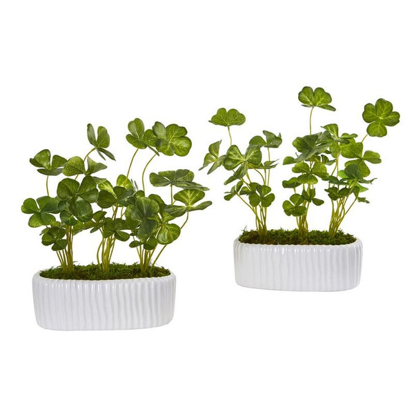 """10"""" Clover Artificial Plant In White Planter (Set Of 2) 8838-S2 By Nearly Natural"""