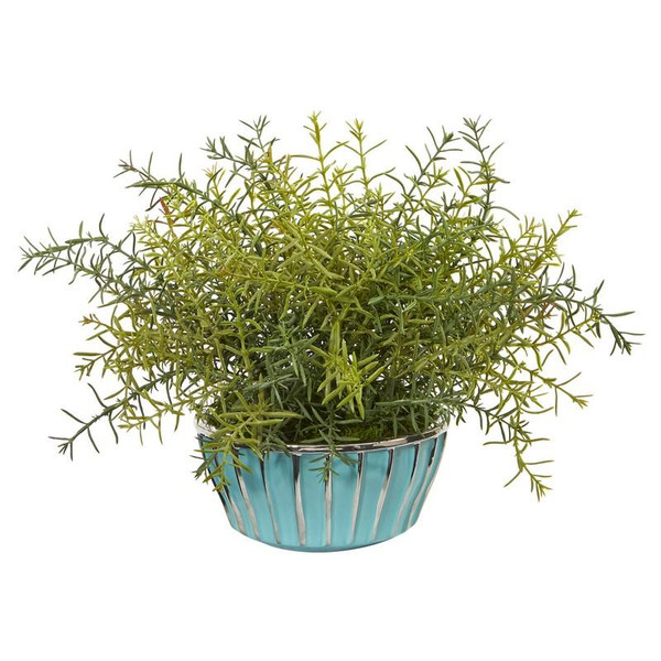 """11"""" Rosemary Artificial Plant In Turquoise Bowl With Silver Trimming 8839 By Nearly Natural"""
