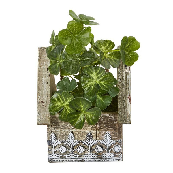 "11"" Clover Artificial Plant In Hanging Floral Design House Planter 8847 By Nearly Natural"