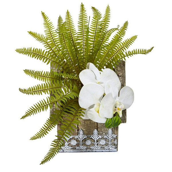 "13"" Phalaenopsis Orchid And Fern Artificial Plant In Hanging Floral Design House Planter 8852-WH By Nearly Natural"
