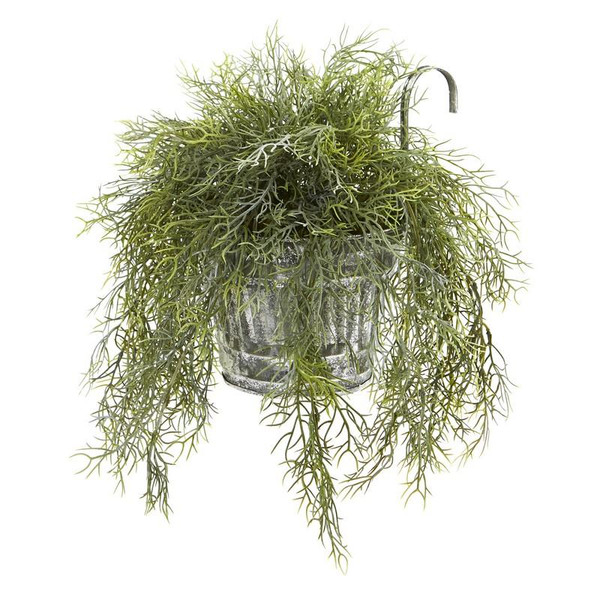 """10"""" Tillandsia Moss Artificial Plant In Vintage Hanging Metal Pail 8860 By Nearly Natural"""