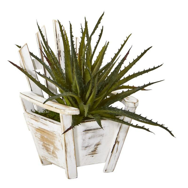 """11"""" Aloe Succulent Artificial Plant In Chair Planter 8866 By Nearly Natural"""