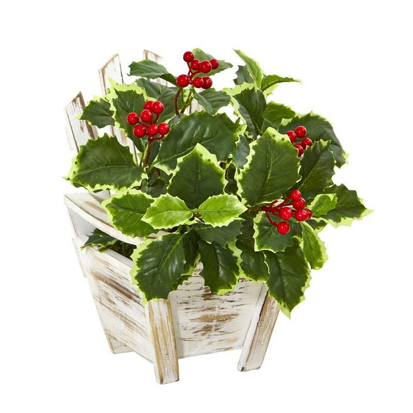"11"" Variegated Holly Leaf Artificial Plant In Chair Planter (Real Touch) 8869 By Nearly Natural"