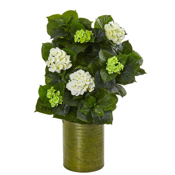 "32"" Hydrangea Artificial Plant In Metal Green Planter 9422 By Nearly Natural"