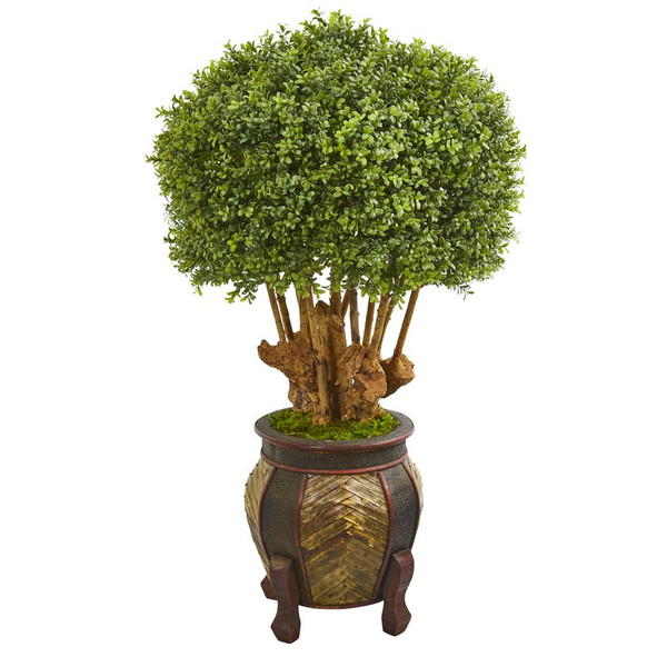 """44"""" Boxwood Artificial Topiary Tree In Designer Planter 9731 By Nearly Natural"""