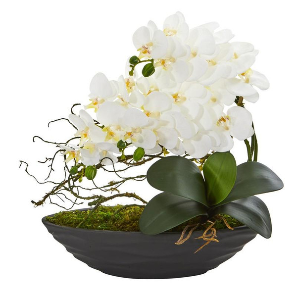 Phalaenopsis Orchid Artificial Arrangement In Decorative Planter A1002-WH By Nearly Natural