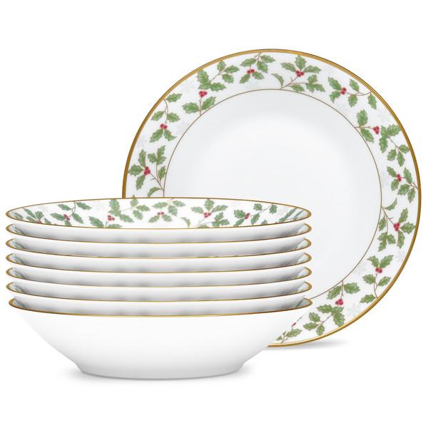 "Noritake Porcelain, White Porcelain 7-1/2"" Set Of 8 Soup Bowls, 12 Ounce 4173-407H"