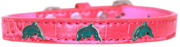 Dolphin Widget Croc Dog Collar Bright Pink Size 16 720-20 BPKC16 By Mirage
