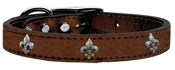 Silver Fleur De Lis Widget Genuine Metallic Leather Dog Collar Bronze 22 83-80 Bz22 By Mirage