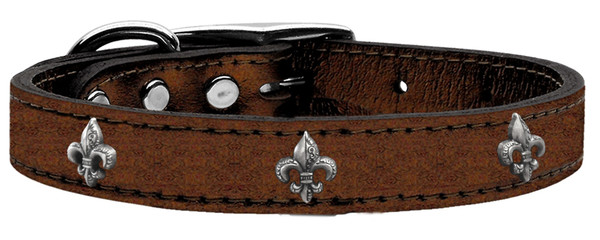 Silver Fleur De Lis Widget Genuine Metallic Leather Dog Collar Bronze 26 83-80 Bz26 By Mirage