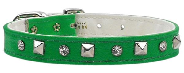 """""""Just The Basics"""" Crystal And Pyramid Collars Green 14 84-01 14GR By Mirage"""