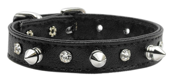 """""""Just The Basics"""" Crystal And Spike Collars Black 12 84-02 12BK By Mirage"""