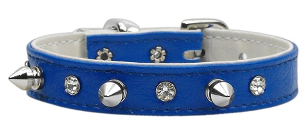 """Just The Basics"" Crystal And Spike Collars Blue 14 84-02 14BL By Mirage"