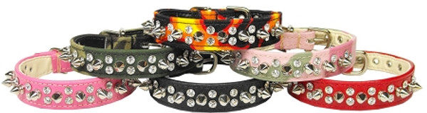 Double Crystal And Spike Collar Black 12 84-04 12BK By Mirage