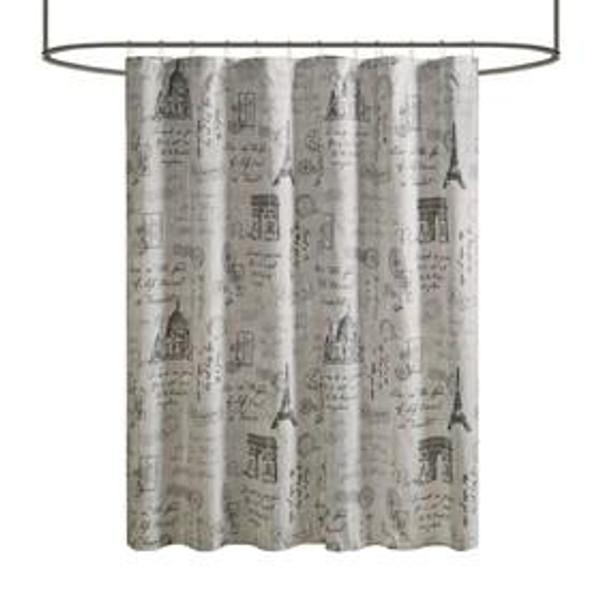510 Design Marseille 100% Polyester Microfiber Paris Printed Shower Curtain 5DS70-0212 By Olliix
