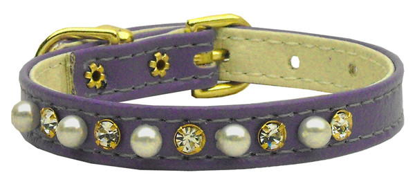 """3/8"""" Pearl And Clear Crystals Collar Purple 12 94-02 12PR By Mirage"""