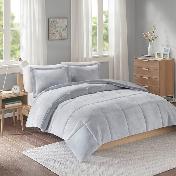 Intelligent Design Carson Reversible Frosted Print Plush To Heathered Micofiber Comforter Set - King/Cal King ID10-1499