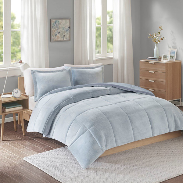 Intelligent Design Carson Reversible Frosted Print Plush To Heathered Micofiber Comforter Set - Full/Queen ID10-1501