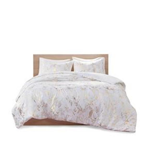 Intelligent Design Magnolia 100% Polyester Brushed Metallic Printed Duvet Cover Mini Set ID12-1776 By Olliix