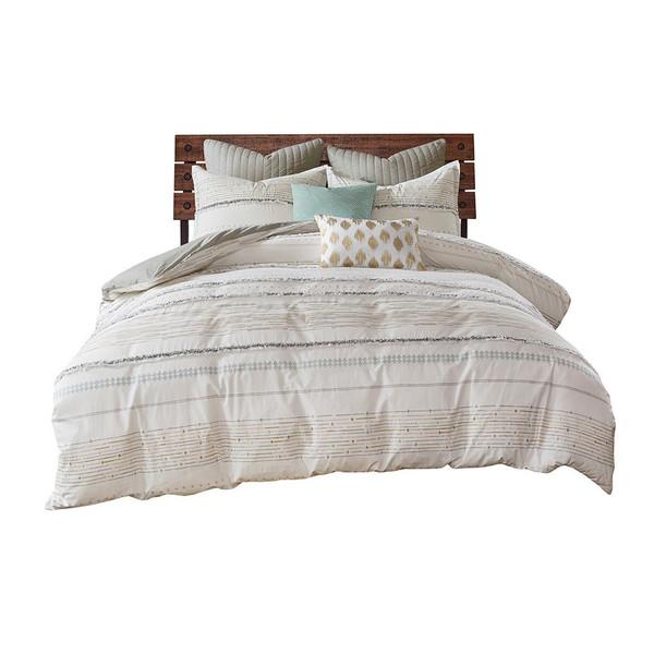 Ink+Ivy Nea Cotton Printed Comforter Set With Trims - Full/Queen II10-1056