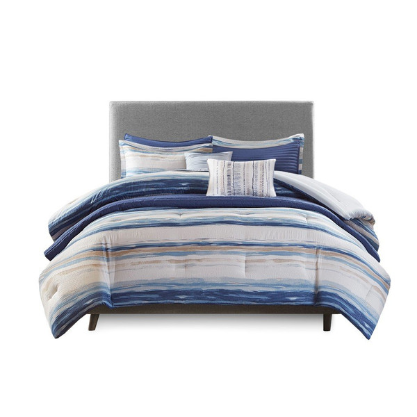Madison Park Marina 8 Piece Printed Seersucker Comforter And Coverlet Set Collection - Full/Queen MP10-6155