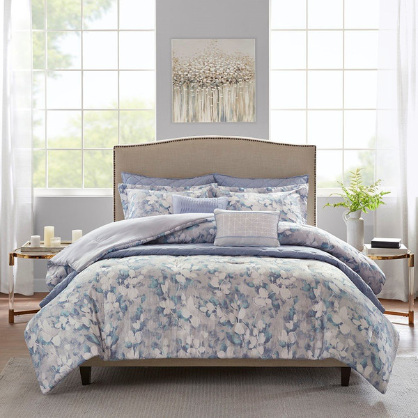 Madison Park Erica 8 Piece Printed Seersucker Comforter And Coverlet Set Collection - Full/Queen MP10-6157