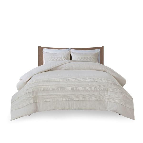 Madison Park Amaya 3 Piece Cotton Seersucker Comforter Set - Full/Queen MP10-6159