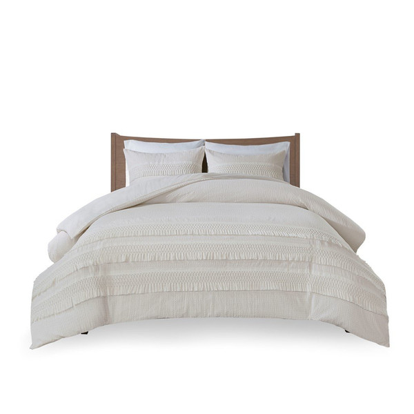 Madison Park Amaya 3 Piece Cotton Seersucker Comforter Set - King/Cal King MP10-6160