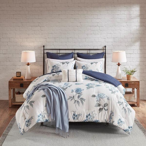 Madison Park Zennia 7 Piece Printed Seersucker Comforter Set With Throw Blanket - King/Cal King MP10-6304
