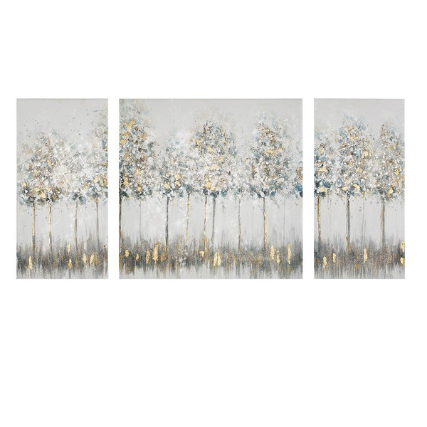 Madison Park Blue Midst Forest Printed Canvas With Gold Foil 3 Piece Set MP95C-0226