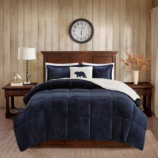 Woolrich Alton Plush To Sherpa Down Alternative Comforter Set - Twin WR10-2413