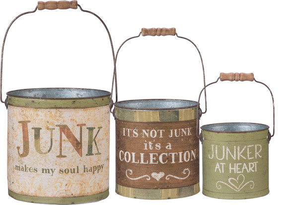 Bucket Set - Junk Happy - Set Of 2 (Pack Of 2) 100293 By Primitives By Kathy