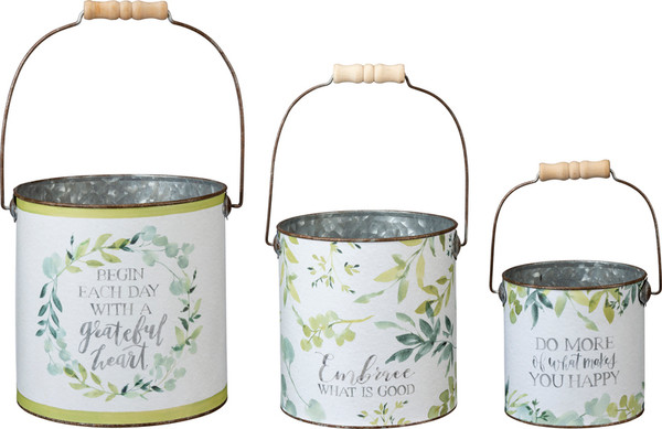 Bucket Set - Grateful Heart - Set Of 2 (Pack Of 2) 101870 By Primitives By Kathy