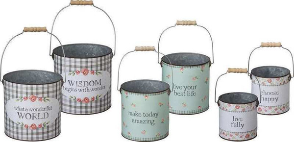 Bucket Set - Live Fully - Set Of 2 (Pack Of 2) 103016 By Primitives By Kathy