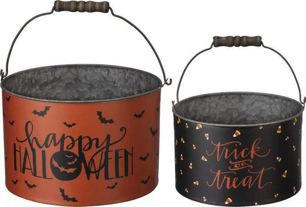 Bucket Set - Trick Or Treat - Set Of 2 (Pack Of 2) 103489 By Primitives By Kathy
