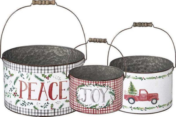 Bucket Set - Joy Peace - Set Of 2 (Pack Of 2) 104193 By Primitives By Kathy