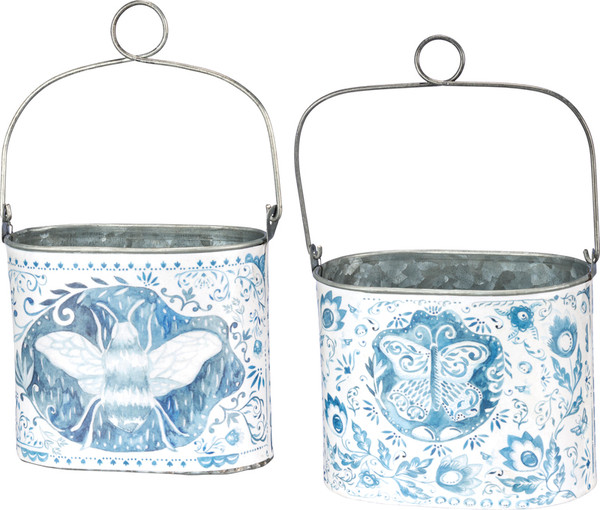 Bucket Set - Bee & Butterfly - Set Of 2 (Pack Of 3) 37954 By Primitives By Kathy