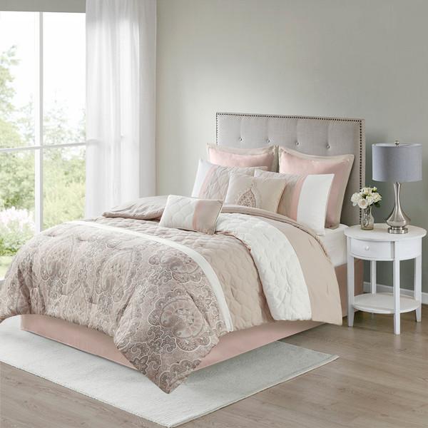 510 Design Shawnee 100% Polyester 8Pcs Comforter Set - Queen - Blush 5DS10-0222 By Olliix