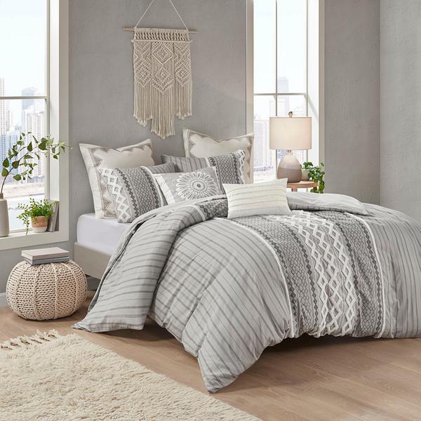 Ink+Ivy Imani 100% Cotton Comforter Mini Set - Full/Queen - Gray II10-1089 By Olliix