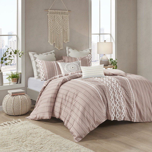 Ink+Ivy Imani 100% Cotton Comforter Mini Set - Full/Queen - Blush II10-1093 By Olliix