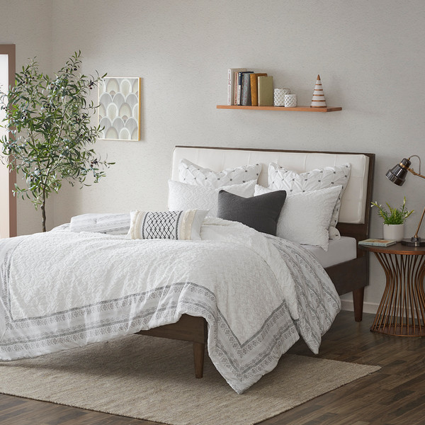 Ink+Ivy Mill Valley 100% Cotton Clipped Jacq Comforter Set - Full/Queen - Gray II10-1065 By Olliix