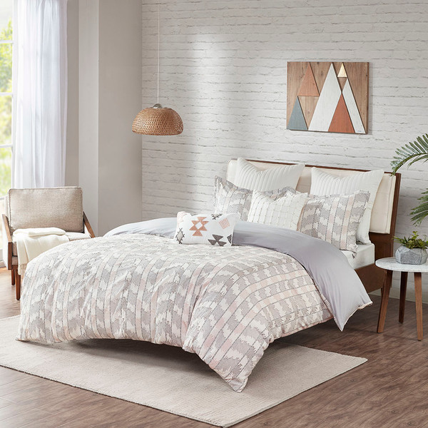 Ink+Ivy Suri 100% Cotton Clipped Jacquard Comforter Set - Full/Queen - Gray/Blush II10-1073 By Olliix