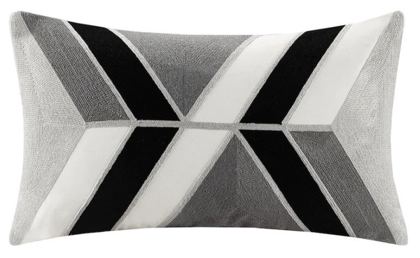 Ink+Ivy Aero 100% Cotton Embroidered Abstract Decorative Pillow- Charcoal/Black II30-1099 By Olliix