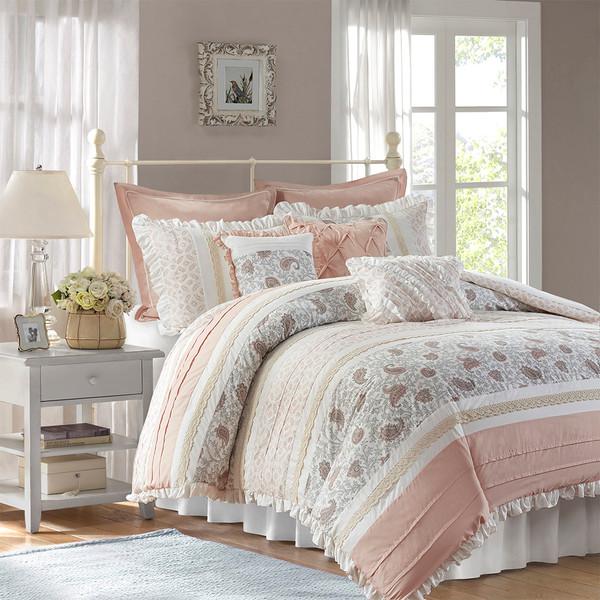 Madison Park Dawn 100% Cotton T180 9 Pcs Printing Pieced Comforter Set - Queen - Blush MP10-6866 By Olliix