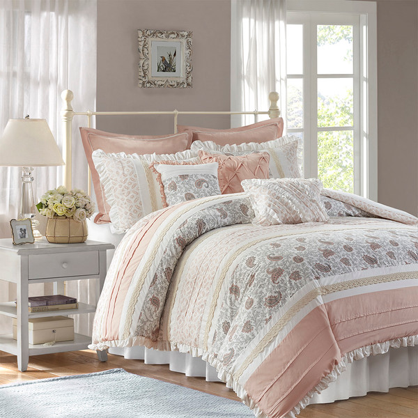Madison Park Dawn 100% Cotton T180 9 Pcs Printing Pieced Comforter Set - King - Blush MP10-6867 By Olliix
